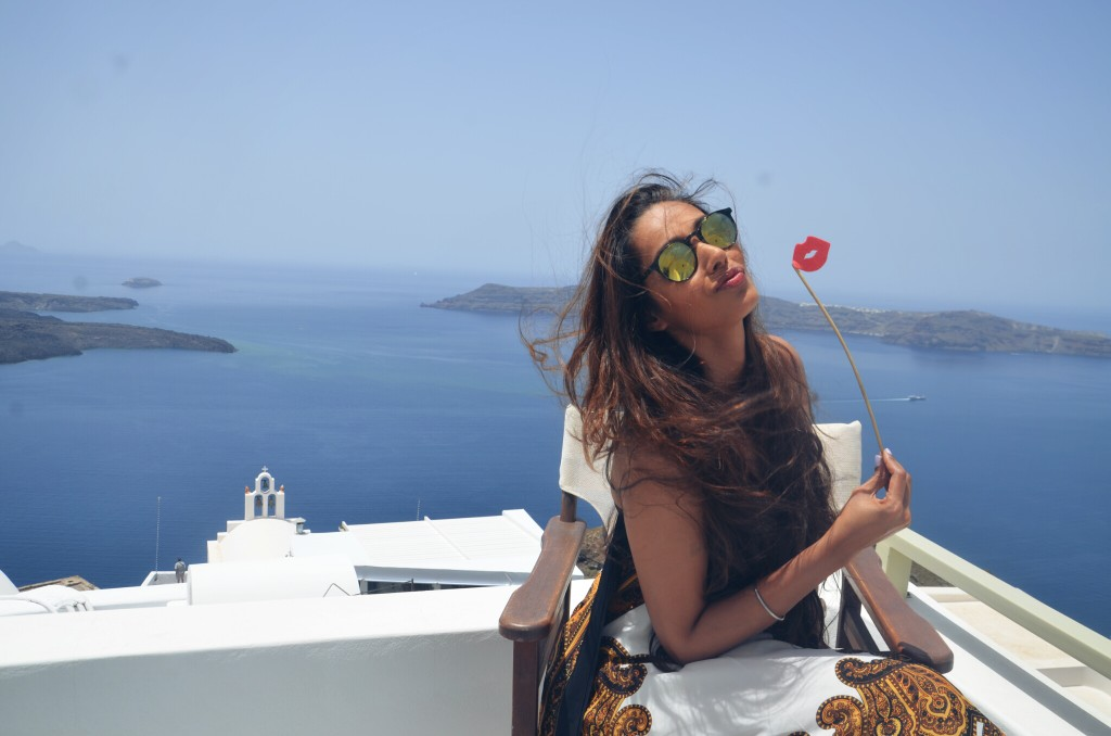Surrounded by the Placid Blue .  Thira , Santorini , Greece